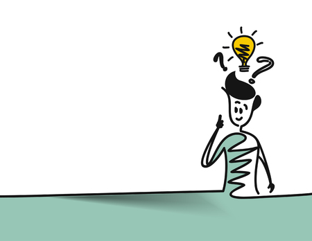 Man looking at the question marks with light idea bulb, space for text.