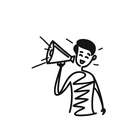 Man hand holding megaphone concept of business announcement. Cartoon Hand Drawn Sketch Vector illustration.
