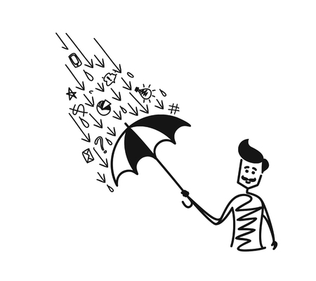 Man holding umbrella under the rain drop with doodle, Cartoon Hand Drawn Sketch Vector illustration.