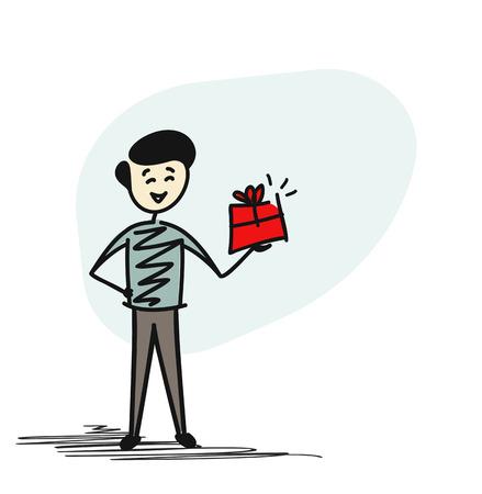 Man Hand holding gift box, Cartoon Hand Drawn sketch concept isolated vector illustration. Illustration