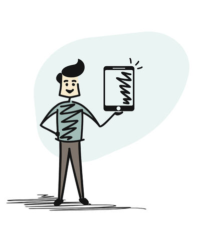 Man hand holding tablet -  phone, Cartoon Hand Drawn Sketch Vector illustration.