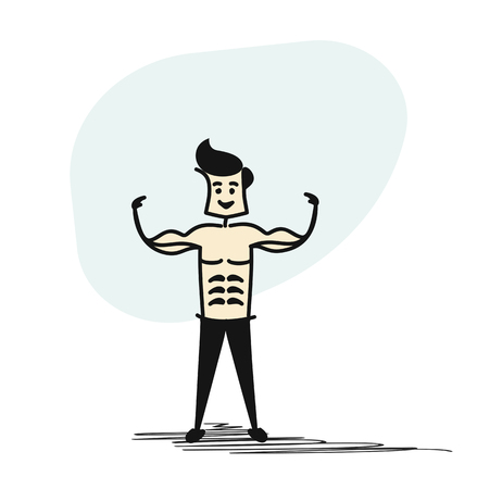 Man standing with shadow of strong muscular men physics posing. Bodybuilders, healthy sport. Hand Drawn Skech Cartoon Vector Background.