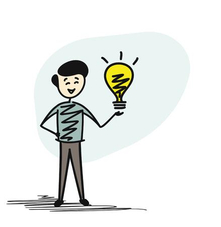 Man holding bulb- idea concept, Cartoon sketch concept isolated vector illustration. Illustration