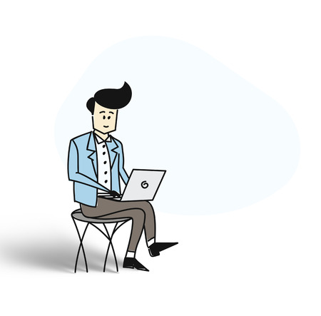 Business man sitting in chair and working on laptop. Flat design. Cartoon Hand Drawn Sketch Vector Background.