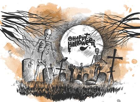 Scary graveyard - Halloween white background, Hand Drawn Sketch Vector illustration. Illustration