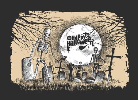 Scary graveyard - Halloween black background, Hand Drawn Sketch Vector illustration.