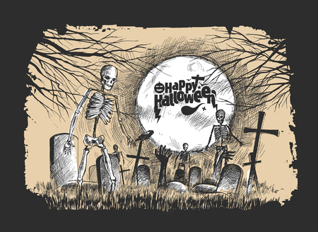Scary graveyard - Halloween black background, Hand Drawn Sketch Vector illustration.