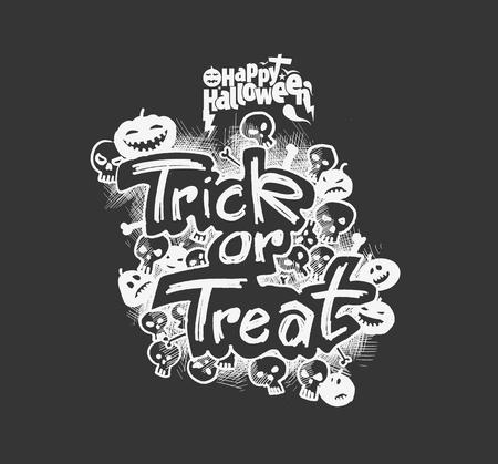 Trick or Treat Halloween poster design, Hand Drawn Sketch Vector illustration.