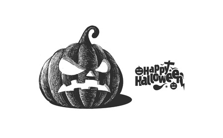 Happy Halloween pumpkin isolated on green background, Hand Drawn Sketch Vector illustration.