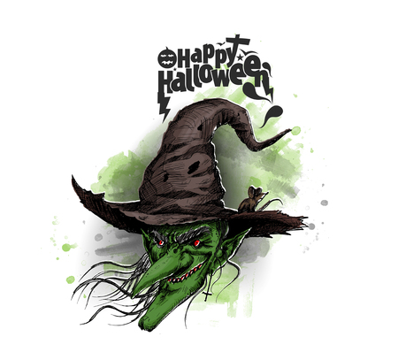 Happy Halloween Witch! Lettering greeting cards for all holidays series, Hand Drawn Sketch Vector illustration. Ilustração
