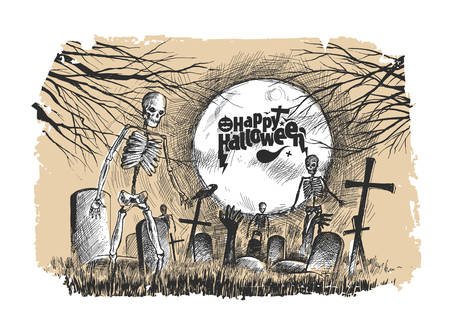 Scary graveyard - Halloween white background, Hand Drawn Sketch Vector illustration. Иллюстрация