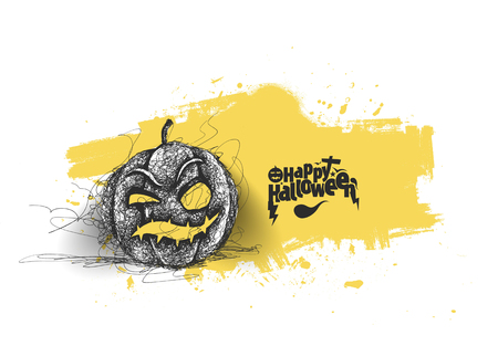 Happy Halloween pumpkin isolated on white background, Hand Drawn Sketch Vector illustration. Ilustração