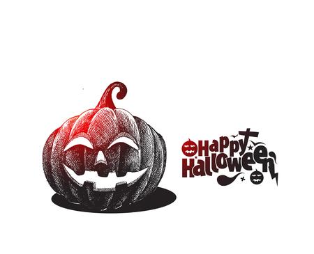 Happy Halloween pumpkin isolated white background, Hand Drawn Sketch Vector illustration.