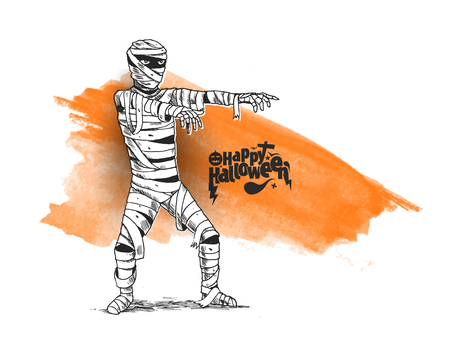 Halloween poster design With Mummy zombie costume, Hand Drawn Sketch Vector Background. Ilustração