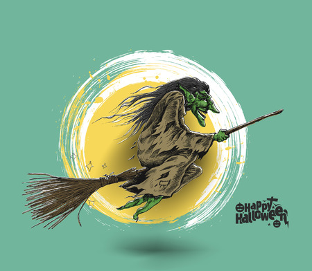 Flying Halloween Witch isolated on green background, Hand Drawn Sketch Vector illustration.