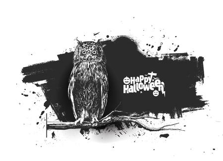 Owl sitting on branch Halloween background , Hand Drawn Sketch Vector. Çizim