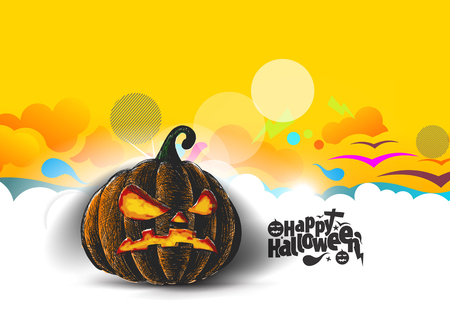 Happy Halloween pumpkin isolated on abstract background, Hand Drawn Sketch Vector illustration.