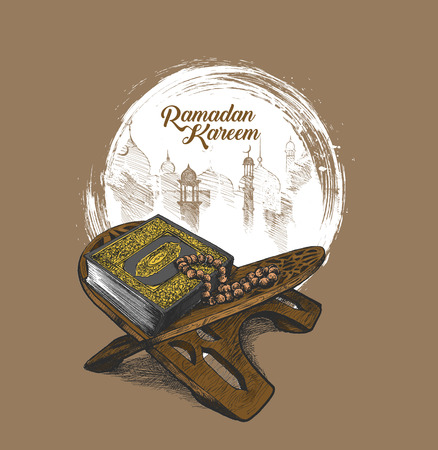 Il libro sacro del Corano sul cavalletto con calligrafia elegante lettering Ramadan Kareem testo, illustrazione vettoriale di schizzo disegnato a mano.