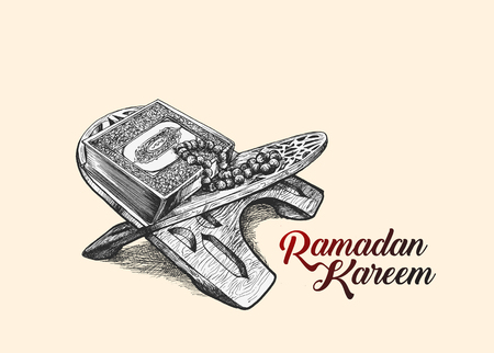 The holy book of the Koran on the stand with calligraphy stylish lettering Ramadan Kareem text illustration.
