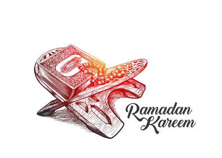 The holy book of the Koran on the stand with calligraphy stylish lettering Ramadan Kareem text on white backdrop illustration. Ilustração
