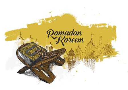 El libro sagrado del Corán en el stand con caligrafía elegante letras texto de Ramadán Kareem en la ilustración de color.