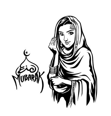 Muslim Girl salam-u-alaikum gesture (  Islamic - how are you ) - Hand Drawn Sketch Vector Background. Illustration