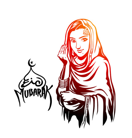 Muslim girl salam-u-alaikum gesture (Islamic - how are you) hand drawn sketch vector background. Ilustrace