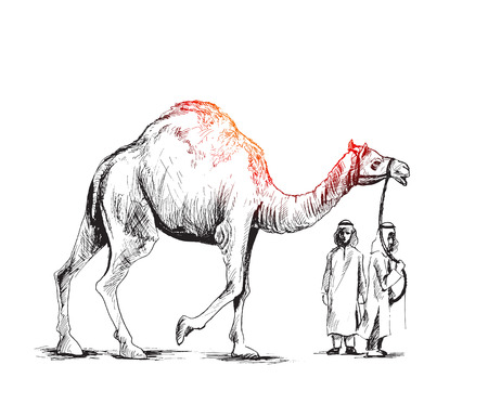 Arab man standing with a camel,