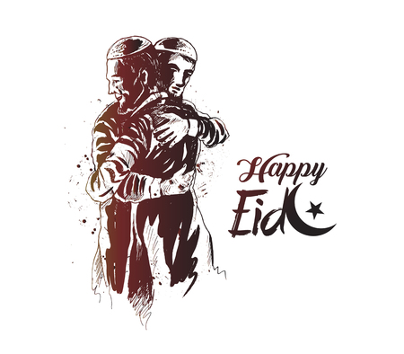 Eid Mubarak celebration template design Illustration