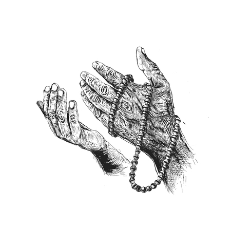 Praying hands with rosary Hand Drawn Sketch