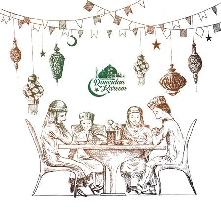 Muslim family Ramadan Kareem Iftar party celebration template Vectores