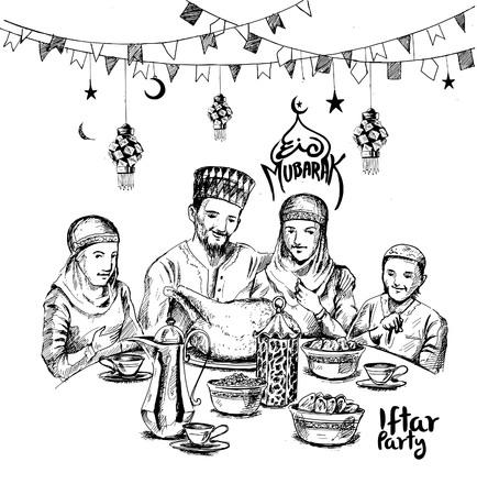 Happy Muslim family Iftar party celebration Hand Drawn Sketch