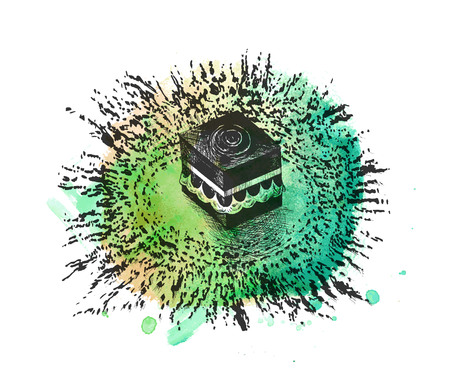 Holy Kaaba Hand Drawn Sketch Illustration