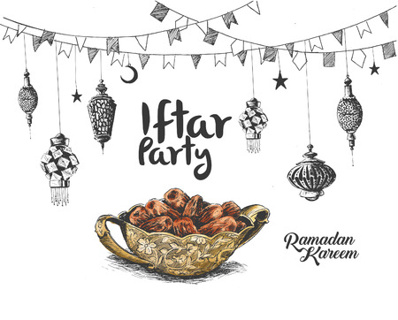 Ramadan Kareem Iftar party celebration Hand Drawn Sketch