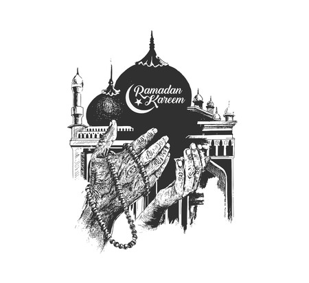 Ramadan Kareem Mosque or Masjid with Praying hands with rosary. vector illustration.