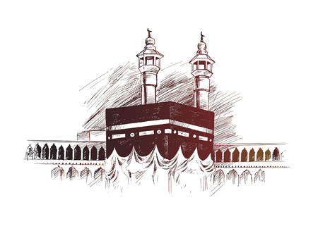 Holy Kaaba in Mecca Saudi Arabia, Hand Drawn Sketch Vector illustration. Foto de archivo - 100478054