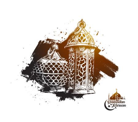 Eid Mubarak background with beautiful illuminated arabic lamp and hand drawn calligraphy lettering. Vector illustration.
