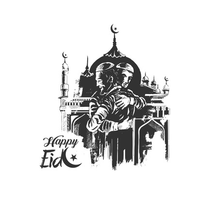 Muslim man hugging and wishing to each other on occasion of Eid celebration with Mosque, Hand Drawn Sketch Vector illustration. Illustration