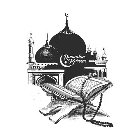 El libro sagrado del Corán en el stand con caligrafía letras elegantes texto de Ramadan Kareem, Ilustración de vector de boceto dibujado a mano.
