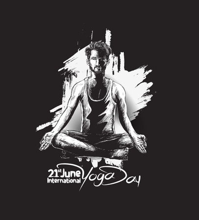 Man practicing yoga pose, 21st june international yoga day, vector illustration.