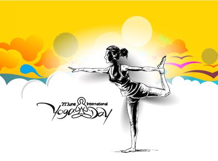Women practicing yoga pose - 21st june international yoga day, vector illustration. Illustration