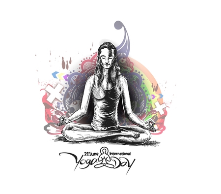 Women practicing yoga pose - 21st june international yoga day, vector illustration. Vetores