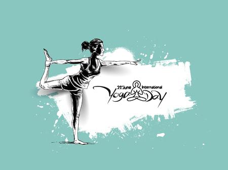 Women practicing yoga pose - 21st june international yoga day, vector illustration.