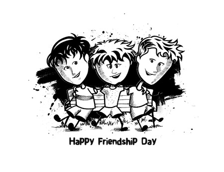 Group of happy friends enjoying Friendship Day. Cartoon Hand Drawn Sketch Vector Background.