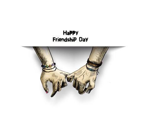 Journée de l'amitié avec tenant la main de la promesse, illustration vectorielle de croquis dessinés à la main.