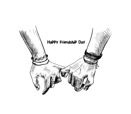 Freundschaftstag mit haltender Versprechenshand, Hand gezeichnete Skizze-Vektorillustration.