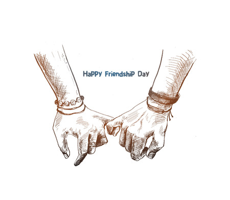 Giornata dell'amicizia con la mano di promessa della tenuta, illustrazione di vettore di schizzo disegnato a mano. Vettoriali
