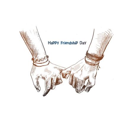 Vriendschapsdag met belofte hand, Hand getrokken schets vectorillustratie te houden. Vector Illustratie