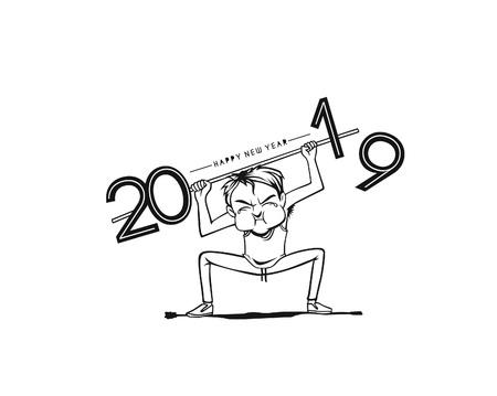 Niño levantando un trabajo pesado del próximo año 2019. Concepto de negocio. ilustración vectorial. Ilustración de vector