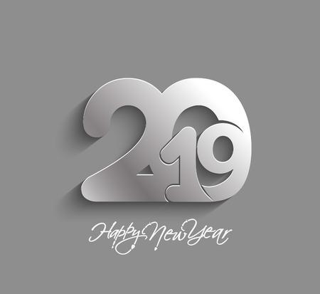 Feliz año nuevo 2019 diseño de texto Patter, ilustración vectorial.